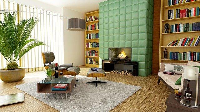salon z kominkiem elektrycznym